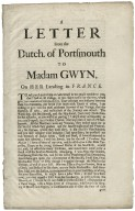 A letter from the Dutch. of Portsmouth to Madam Gwyn, on her landing in France.
