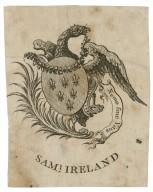 Nemo sine vitiis, [bookplate for] Saml. Ireland [graphic].