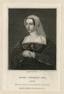 Queen Catharine Par. Ob. 1548, from the original of Holbein, in the collection of Dawson Turner ... [graphic] / engraved by J. Cochran.