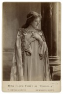"""Miss Ellen Terry as """"Cordelia"""" [in Shakespeare's King Lear; 2 different poses and costumes] [graphic] / Window & Grove."""