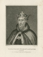 John of Gaunt Duke of Lancaster, [from the play] Richard II, from a painting on glass in All Souls College Oxford [graphic] / S. Harding del. ; R. Clamp sculp.