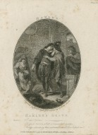 Hamlet's death, [act V, scene 2] ... I die, Horatio--Oh good Horatio, what a wounded name things standing thus unknown, shall live behind me! [graphic] / engraved by Charles Taylor from a drawing by Robert Smirke.