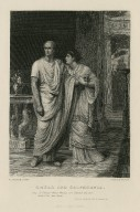 """Caesar & Calphurnia: """"O Caesar! These things are beyond all use & I do fear them,"""" act II, scene II [graphic] / F. Dicksee pinxt. ; J. Bauer sculpt."""