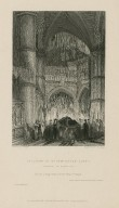 Interior of Westminster Abbey, funeral of Henry Vth, He was a king bless'd of the king of kings, First part of King Henry 6th, act 1, scene 1 ... [graphic] / drawn by G.F. Sargent ; engraved by W.F. Starling.