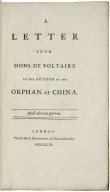 A letter from Mons. de Voltaire to the author of The orphan of China.