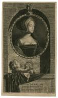 Anne de Boulen, ie fus par ma beauté sur le trône elevée, mais à d'affreus revers ce haut rang fút sújet, et je regretterois ma fortune privée, si je n'avors été mere d' Elizabeth [graphic] / Adrn. vander Werff, pinx. ; Vermeulen, sculps.