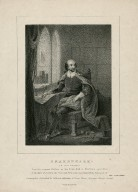 Shakespeare (in his study), from the original picture in the Town Hall at Stratford upon Avon [graphic].