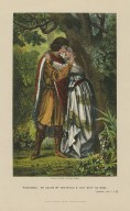 """Posthumus: """"My queen! My mistress! O lady weep no more!"""" Cymbeline, act I, sc. 2 [i.e. 1] [graphic] / drawn & etched by Robert Dudley."""