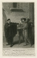 Merchant of Venice, act 3, scene 3, Shylock, Solanio, Antonio, & Gaoler [graphic] / painted by R. Westall ; engraved by J. Parker.