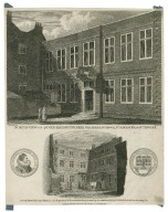 North view of Queen Elizabeth's Free Grammar School, St. Saviour's Southwark ; South view of the same structure with impressions of the Silver Medal, presented ... to the best deserving boy [graphic] / Schnebbelie, del. ; Howlett, sculp.