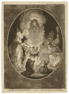 A phantasmagoria : scene, conjuring-up an armed skeleton [graphic] / J. Gillray, invt. & fect.