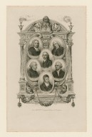 Eminent commentators and editors of Shakspeare's works : Warburton, S. Johnson, G. Steevens, I. Reed, E. Malone, N. Drake [graphic] / Geoffroy, sculpsit.