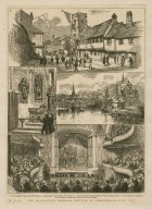 """The Shakespeare memorial festival at Stratford-on-Avon : [graphic] the grammar school and New Place ; Shakespeare's monument in the church ; the church and memorial theatre from the river ; the opening performance in the theatre: scene from """"Much ado about nothing"""" / J.R. Brown."""