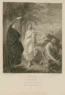 Tempest, act I, scene 2, near the cell of Prospero, Prospero, Miranda & Caliban [graphic] / painted by the Revd. W. Peters ; engrav'd by Mr. Bromley.