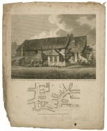 E.S.E. view of John Bunyan's meeting house...Southwark; with the adjacent plan [graphic].