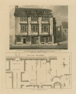 A south view of the Falcon Tavern on the bankside, Southwark, as it appeared in 1805 ... with a plan of the site and its vicinity [graphic] / F. Nash, del. ; W. Wise, sculp.