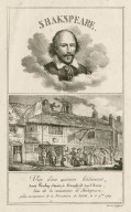Shakespeare : vue d'un ancien bâtiment, dans Ponley-Street, à Stratford-sur-l'Avon, lieu de la naissance de Shakspeare, prise au moment de la Procession du Jubilé, le 6 7bre, 1769 [graphic] / Lith. de Langlumé.
