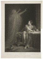 Julius Caesar, act IV, scene III, Brutus' tent, in the camp near Sardis -- Brutus & the ghost of Caesar [graphic] / painted by R. Westall R.A. ; engraved by Edward Scriven.