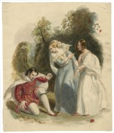 [Two women and a man in Elizabethan dress] [graphic].