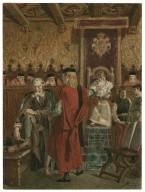[Merchant of Venice, IV, 1, courtroom scene, Portia as Balthazar, Shylock whetting knife, etc.] [graphic] / [Alexandre Bida].