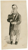 [Unidentified caricature of a man with a top hat in his right hand and a rolled paper in his left hand] [graphic].