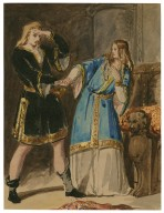 """[Original sketch by William Egley for his painting of """"Hamlet and Ophelia""""] [graphic]."""
