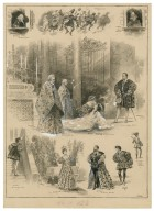 [Grouped vignettes depicting characters and scenes from Much ado about nothing as performed at His Majesty's in 1905] [graphic] / S. Begg.