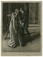"""[Hamlet as performed at the Adelphi Theatre] Ophelia, Lily Brayton, Hamlet, H.B. Irving, act III, scene 1, Hamlet: """"Get thee to a nunnery, why would'st thou be a breeder of sinners?"""" [graphic] / Max Cowper."""