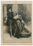 """Much ado about nothing, II, 5 [as performed at His Majesty's Theatre] Beatrice: """"Kill Claudio,"""" Mr. Herbert Beerbohm Tree as Benedick, Miss Winifred Emery as Beatrice [graphic] / Max Cowper."""