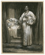 """Othello, V, 2, Othello: """"Othello, Ha! No more moving, still as the grave"""" Mr. Forbes Robertson as Othello, Miss Gertrude Elliot as Desdemona, performed at the Lyric [graphic] / Max Cowper."""