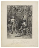 """Jaq. """"Can you nominate in order now the degrees of the lie?"""" Touchstone. """"O sir, we quarrel in print ... the seventh, the lie direct"""", As you like it, act V, scene IV [graphic] / F.O.C. Darley, 1884."""