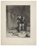 """Glo. """"If any spark of life be yet remaining, down, down to hell; and say I sent thee thither"""", stabs him again, King Henry VI, part III, act V, scene VI [graphic] / F.O.C. Darley, 1885."""