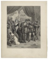 """K. Henry """"My lord chamberlain, pr'ythee, come hither. What fair lady's that?"""" Cham. """"An't please your grace, Sir Thomas Bullin's daughter"""", Henry VIII, act I, scene IV [graphic] / F.O.C. Darley, 1885."""