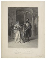 """Othello. """"Let me see your eyes. Look in my face"""", Desdemona. """"What horrible fancy is this?"""", The Moor of Venice, act IV, scene II [graphic] / F.O.C. Darley, 1884."""