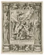 Emisit eum Dominus Deus de paradiso voluptatis, ut operaretur terram, de qua sumptus est, Gen. 3 [graphic] / H.B. i. [center plate] ; W.H. [center plate] ; Ab. à Dvpenbeché inu. [border] ; W. Hollar fecit [border].
