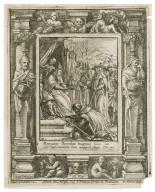Moriatur sacerdos magnus, Iosue 20, et episcopatum eius accipiat alter, Psal. 108 [graphic] / H.B. i. [center plate] ; W.H. [center plate] ; Ab. à Dvpenbeché inu. [border] ; W. Hollar fecit [border].