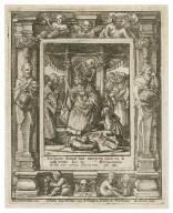 Dispone domui tuae, morieris enim tu, & non viues, Isai. 38, ibi morieris & ibi erit currus gloriae tuae, Isai. 22 [graphic] / H.B. i. [center plate] ; W.H. [center plate] ; Ab à Dvpenbeché inu. [border] ; W. Hollar fecit [border].
