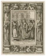 Gradientes in superbia polest Deus humiliaere, Dan. 4 [graphic] / H.B. i. [center plate] ; W.H. [center plate] ; Ab. à Dvpenbeché inu. [border] ; W. Hollar fecit [border].