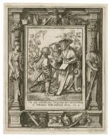 Vae qui iustificatis impium pro mueribus, & iustitiam iusti aufertis ab eo, Isa. 5 [graphic] / H.B. i. [center plate] ; W.H. [center plate] ; Ab. a Diepenbecke inu. [border] ; W. Hollar fecit 1651 [border].