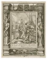 Est via quae videtur homini iusta, nouissima autem eius deducunt homine ad mortem, Prov. 4 [graphic] / H.B. i. [center plate] ; W.H. [center plate] ; Ab. a Diepenbecke inu. [border] ; W. Hollar fecit [border].