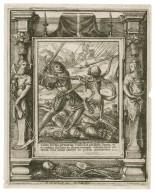 Cum fortis armatus custodit atrium suum etc., si autem fortior eo superueniens vicerit eum vniuersa eius arma [graphic] / H.B. i. [center plate] ; W.H. [center plate] ; Ab. a Diepenbecke inu. [border] ; W. Hollar fecit [border].
