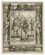 Callidus vidit malum & abscondit se innocens pertransijt & afflictus est damno, Prou. 22 [graphic] / H.B. i. [center plate] ; W.H. [center plate] ; Ab. a Diepenbecke inu. [border] ; W. Hollar fecit [border].