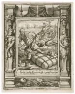 Qui congregat thesauros lingua mendacit, vanus & excors est, & impingetur ad laqueos mortis, Proverb. 21 [graphic] / H.B. i. [center plate] ; W.H. [center plate] ; Ab. a Diepenbecke inu. [border] ; W. Hollar fecit [border].
