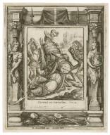 Corruit in curru suo, Chron. 22 [graphic] / H.B. i. [center plate] ; W.H. [center plate] ; Ab. a Diepenbecke inu. [border] ; W. Hollar fecit [border].