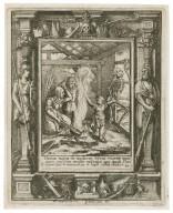 Homo natus de muliere, breui viuens tempore repletur multis miserus, qui quasi flos egreditur & conteritur & fugit velut vmbra, Iob 1 [graphic] / H.B. i. [center plate] ; W.H. [center plate] ; Ab. a Diepenbecke inu. [border] ; W. Hollar fecit 1651 [border].