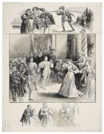 """[Shakespeare's Much ado about nothing at the St. James theatre, 3 scenes reading from top to bottom: 1. Act II - Leonato's Orchard, 2. Act IV, 3. Act V - """"Remember I'm an ass!""""] [graphic] / [John Jellicoe]."""
