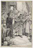 Merchant of Venice. Tarry a little, Jew, said Portia, this bond here gives you no drop of blood [graphic] / Louis Rhead.