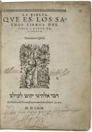 Bible. Spanish. Reina. 1569.