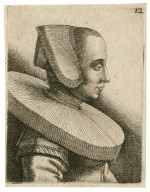 [Young woman with lace bonnet] [graphic] / [Wenceslaus Hollar].