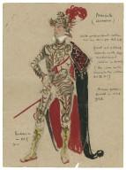 Wardrobe sketch with notes. Macbeth in armor